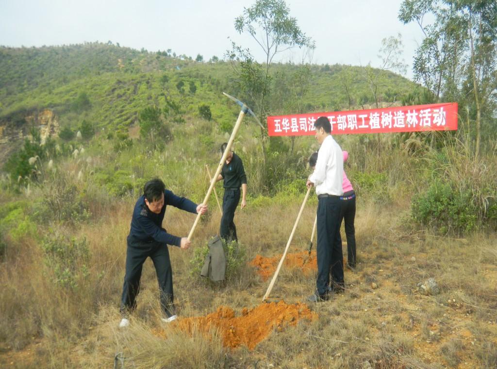 司法局机关干部职工到将军林开展植树开穴活动司法
